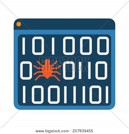 Software bug error virus in program binary code abstract icon. Software development and debugging concept illustration isolated vector. Transparent