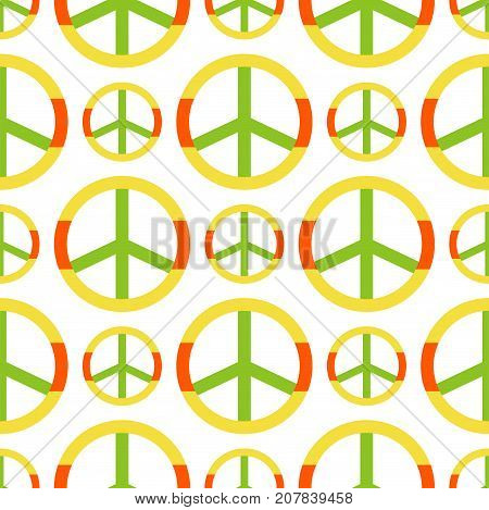 Vector peace symbol made of hippie theme pacifism sign style seamless pattern ornamental background. Love and peace colorful rainbow shape illustration.