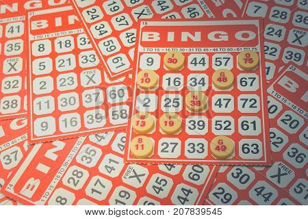 Business Success Concept : Red bingo card with white chip in vintage style.