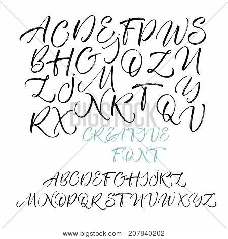 Hand drawn vector alphabet. Hand drawn calligraphy letters. Letters of the alphabet written with a brush. Ink illustration. Modern calligraphy. Handwritten calligraphy font. Textured letters.