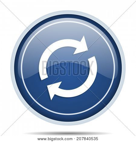 Reload blue round web icon. Circle isolated internet button for webdesign and smartphone applications.