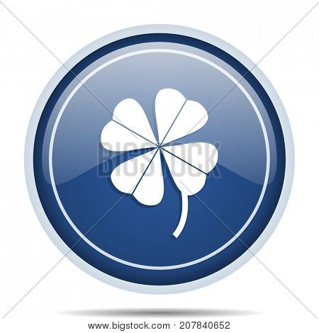 Four-leaf clover blue round web icon. Circle isolated internet button for webdesign and smartphone applications.