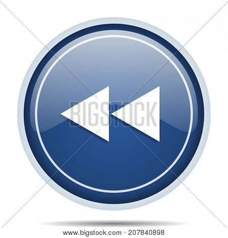 Rewind blue round web icon. Circle isolated internet button for webdesign and smartphone applications.