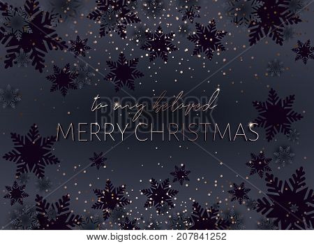 Black Merry Christmas postcard to my beloved. Gold inscription. Xmas banner. Strict style for mens. Golden glow of confetti. Proportional to A6.