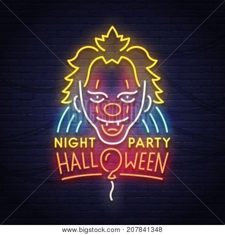 Clown neon sign. Night paty. Happy Halloween. Neon sign, bright signboard.