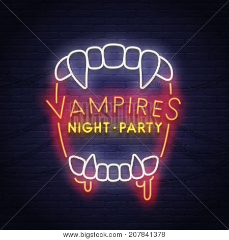 Vampires neon sign. Night paty neon. Happy Halloween. Neon sign, bright signboard.