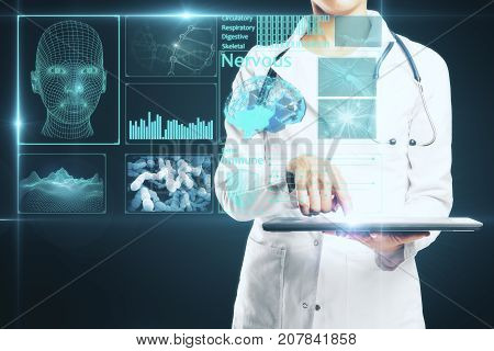 Young female doctor using tablet with abstract digital screen hologram. Innovation concept. 3D Rendering