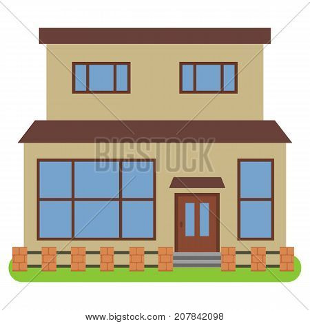 Private house with a orange roof and yellow walls on a white background. Vector illustration.