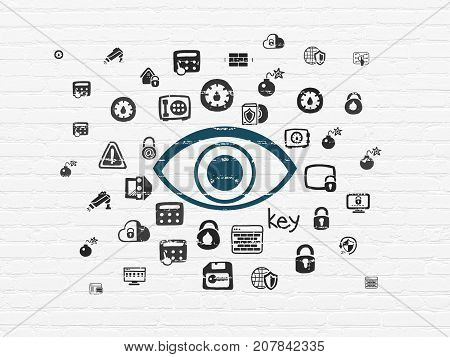 Privacy concept: Painted blue Eye icon on White Brick wall background with  Hand Drawn Security Icons