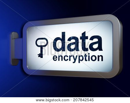 Protection concept: Data Encryption and Key on advertising billboard background, 3D rendering