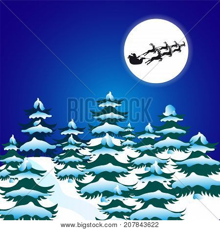 Night christmas forest.Silhouette of Santa in the moonlight.