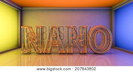 Nano word built from crystalline network, nanotechnology concept, 3D illustration