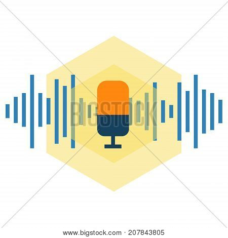 Voice command microphone abstract icon. Voice control and recognition technology concept illustration isolated vector. Transparent