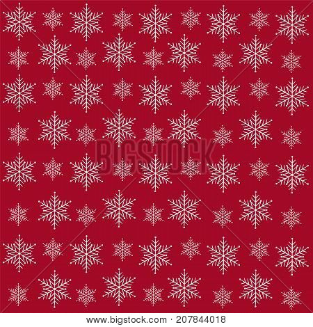 Christmas background.White snowflakes on a red background.