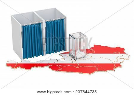 Austrian election concept ballot box and voting booths on the map of Austria 3D rendering