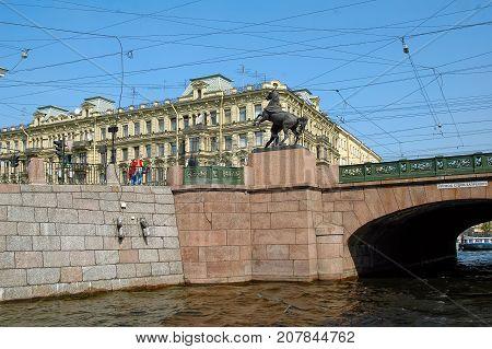 Anichkov Bridge In Saint-petersburg. Russia