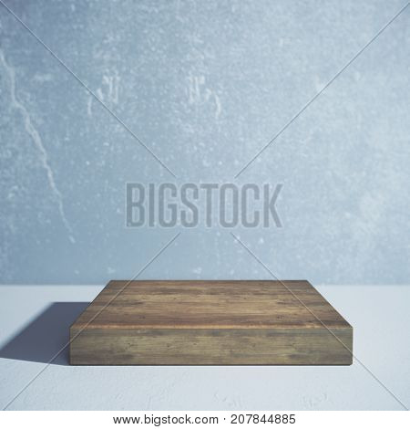 Front view of empty wooden board with shadow on concrete background. Ad concept. Mock up 3D Rendering