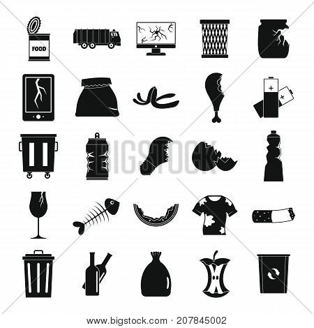 Garbage silhouette icons set vector illustration for design and web isolated on white background. Garbage vector object for label and advertising