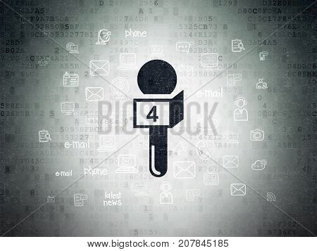 News concept: Painted black Microphone icon on Digital Data Paper background with  Hand Drawn News Icons