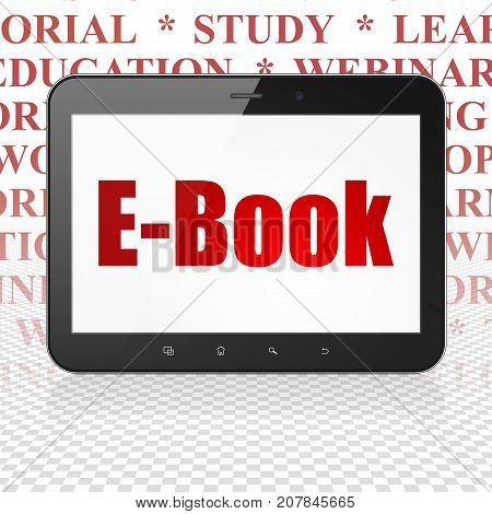 Learning concept: Tablet Computer with  red text E-Book on display,  Tag Cloud background, 3D rendering