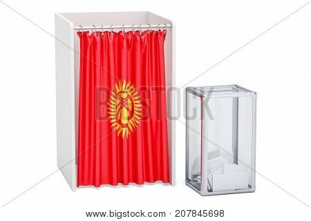 Kyrgyz election concept ballot box and voting booths with flag of Kirghizia 3D rendering