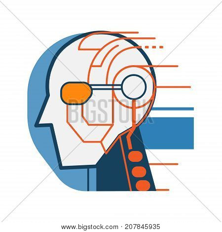 Cyborg robot face abstract icon. Wired head hi-tech technology concept illustration isolated vector. Transparent