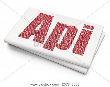 Software concept: Pixelated red text Api on Blank Newspaper background, 3D rendering