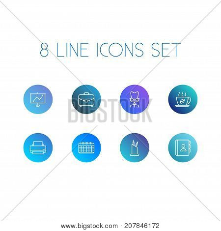 Collection Of Printing Machine, Date, Portfolio And Other Elements.  Set Of 8 Bureau Outline Icons Set.