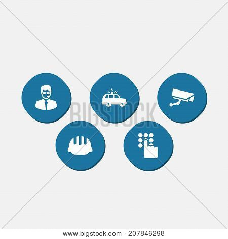 Collection Of Keypad, Surveillance, Security Man And Other Elements.  Set Of 5 Procuring Icons Set.