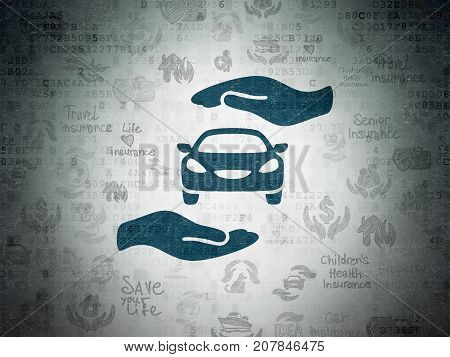 Insurance concept: Painted blue Car And Palm icon on Digital Data Paper background with  Hand Drawn Insurance Icons
