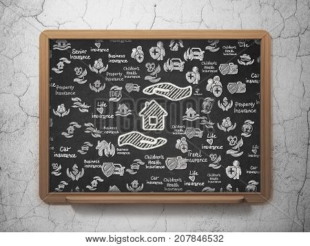 Insurance concept: Chalk White House And Palm icon on School board background with  Hand Drawn Insurance Icons, 3D Rendering