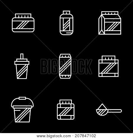 Abstract symbols of bodybuilding nutrition supplements. Whey protein, gainer, amino acids for mass gain. Set of simple white line design vector icons on black.