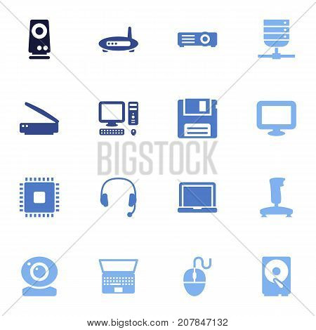 Collection Of Display, Hard Disk, Record And Other Elements.  Set Of 16 Computer Icons Set.