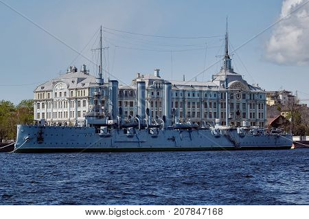 Cruiser Aurora In The Saint-petersburg. Russia
