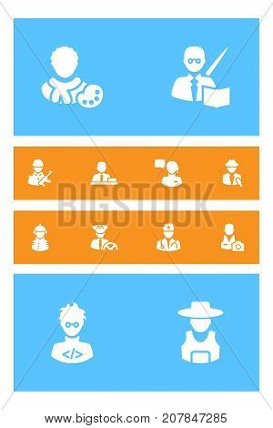 Collection Of Leaner, Rancher, Driver And Other Elements.  Set Of 12 Position Icons Set.