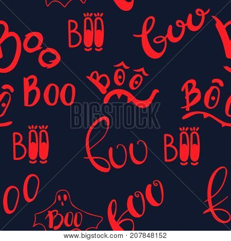 Halloween seamless pattern with boo inscription. Beautiful vector background for decoration halloween designs. Cute lettering elements.
