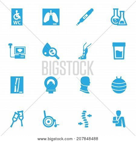 Collection Of Blood Analysis, Sonogram, Wheelchair Toilet And Other Elements.  Set Of 16 Medical Icons Set.