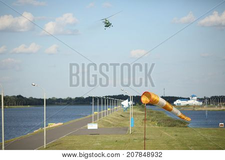 Helicopter takes part in the air show