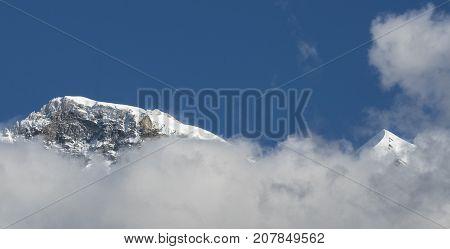 Jungfrau and Silberhorn view from Lauterbrunnen Switzeland
