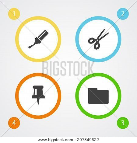 Collection Of Clippers, Folder, Highlighter And Other Elements.  Set Of 4 Tools Icons Set.