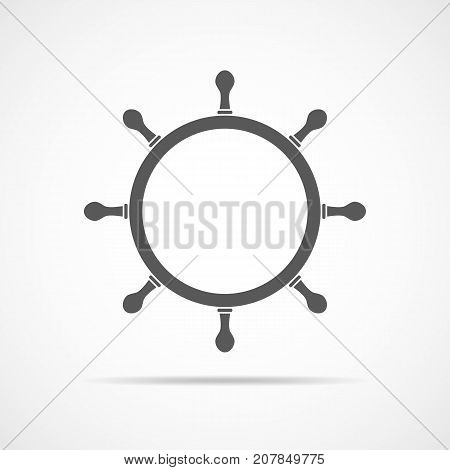Ship steering wheel icon. Vector illustration. Gray ship steering wheel in flat design