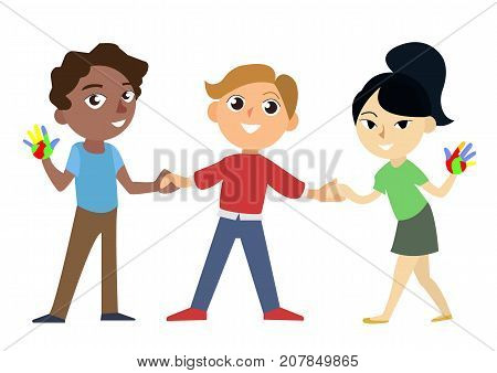 International happy and smiling african european and asian childrens holding the hands. Universal children s day vector illustration. Three characters isolated on the white background.