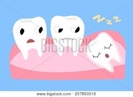 Wisdom tooth. Cartoon vector illustration of emotional teeth.