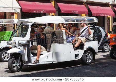 White Tuk Tuk Taxi Cab Rides The Street