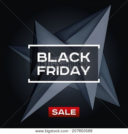 Black Friday Sale. Volume geometric shape, 3d levitation black crystal, creative low polygons dark object. Red accent. Vector design form for you business projects