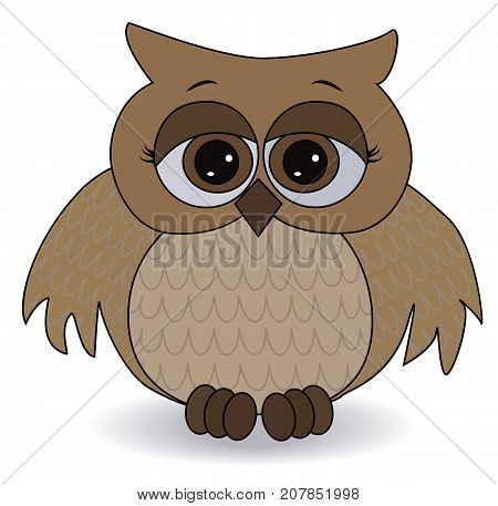 A Sad Brown Owl With Surprised Eyes And Spread Out Wings, With A Pattern On The Sternum And Wings