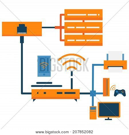 Server network abstract icon. Server racks, router, workstation, printer, gaming console and smartphone. Network and connection technology concept illustration isolated vector. Transparent