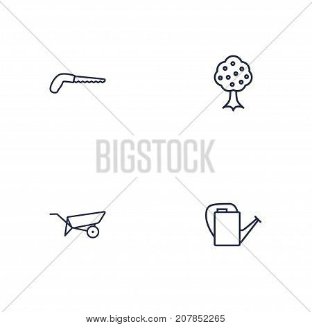 Collection Of Barrow, Garden, Bailer And Other Elements.  Set Of 4 Horticulture Outline Icons Set.