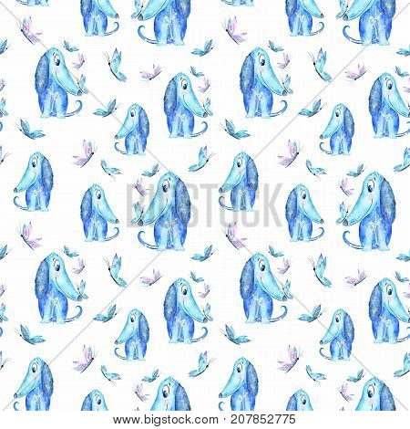 Watercolor Seamless texture with azure blue puppies, butterflies on white background