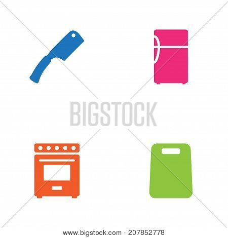 Collection Of Furnace, Kitchen Ax, Refrigerator And Other Elements.  Set Of 4 Cooking Icons Set.